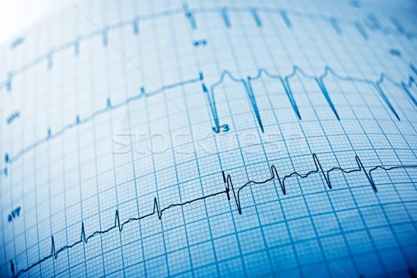 Elektrokardiogram közelkép papír űrlap szív háttér Stock fotó © pedrosala