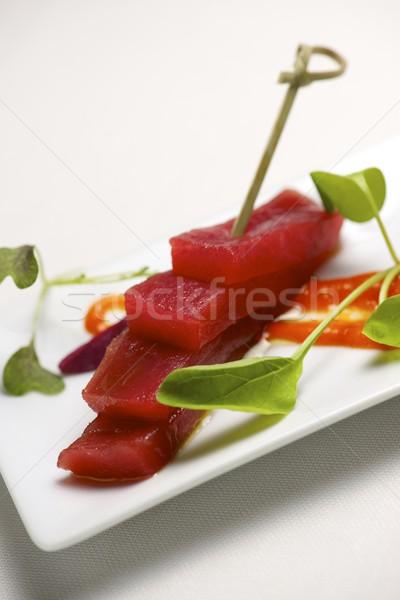 Vermelho atum pequeno branco pires peixe Foto stock © pedrosala