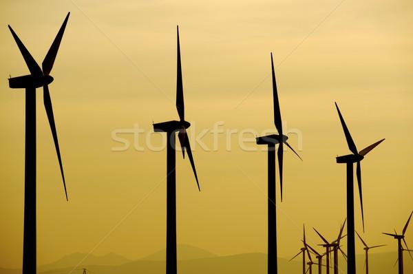 Wind energie elektrische macht productie zonsondergang Stockfoto © pedrosala