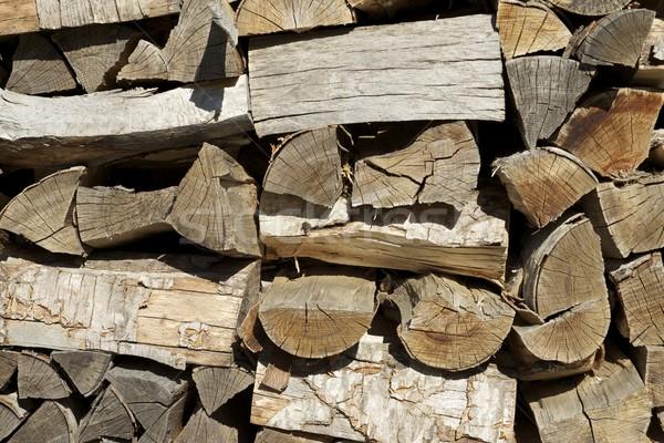 Yakacak odun grup kesmek doku ahşap inşaat Stok fotoğraf © pedrosala