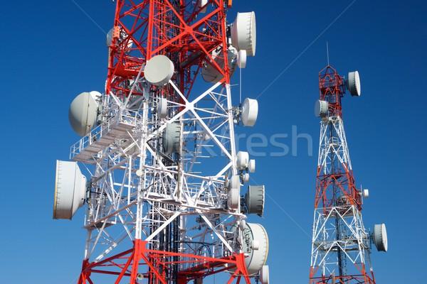 Telecommunicatie blauwe hemel business televisie bouw Stockfoto © pedrosala