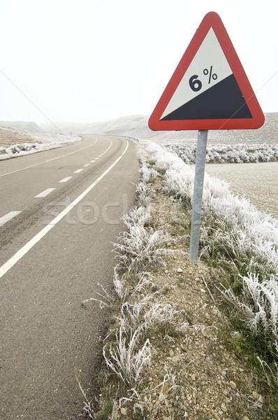 Leszármazás közlekedési tábla út természet tájkép felirat Stock fotó © pedrosala