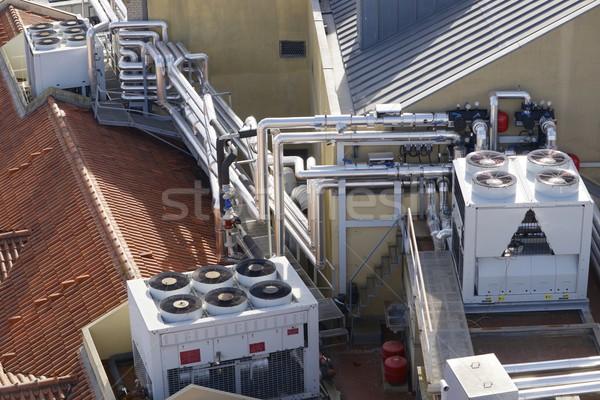 Aire acondicionado vista enorme grupo techo construcción Foto stock © pedrosala