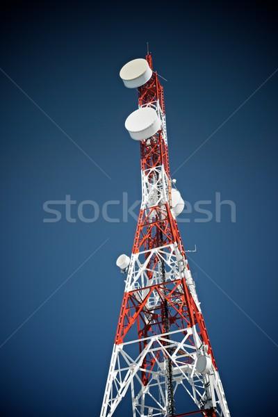 связь башни Blue Sky бизнеса небе телевидение Сток-фото © pedrosala
