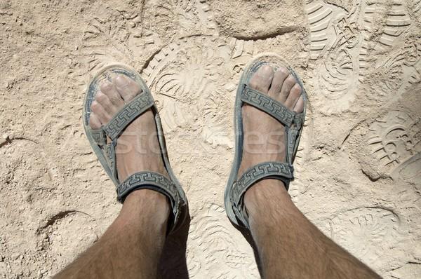 Szandál láb sivatag férfi fekete kosz Stock fotó © pedrosala
