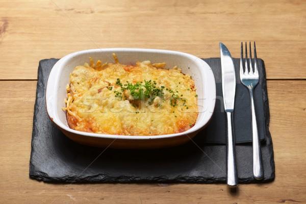 Toszkána krumpli edény fa asztal egészség tányér Stock fotó © pedrosala
