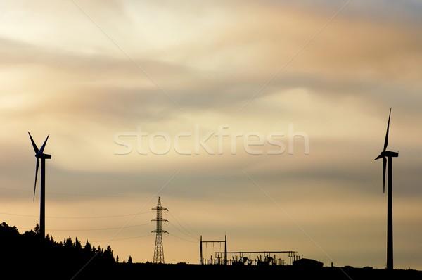 два электрические закат свет промышленности фермы Сток-фото © pedrosala