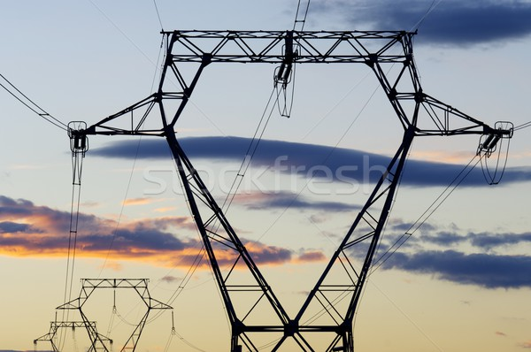 Elektrische orange Himmel sunrise Wolken Metall Stock foto © pedrosala