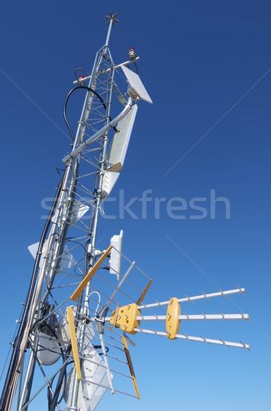 Antena primer plano tv telecomunicaciones torre Internet Foto stock © pedrosala