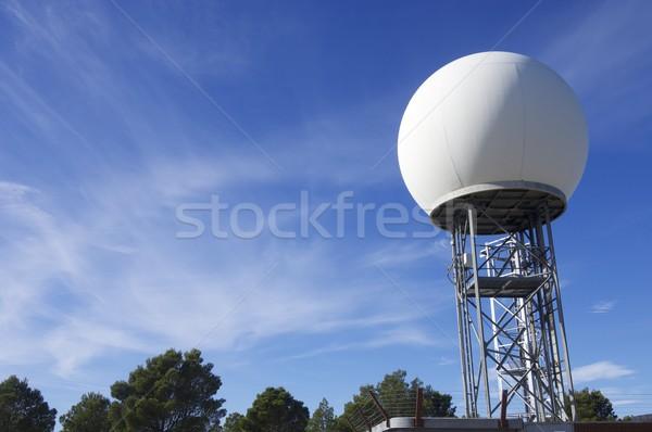 Időjárás állomás kilátás nagy fehér gömb Stock fotó © pedrosala