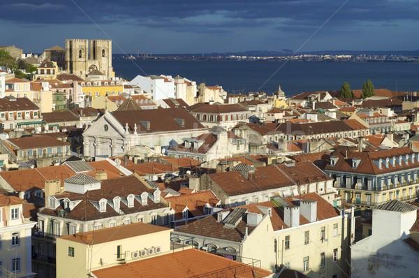 リスボン 古い 雲 道路 芸術 建物 ストックフォト © pedrosala