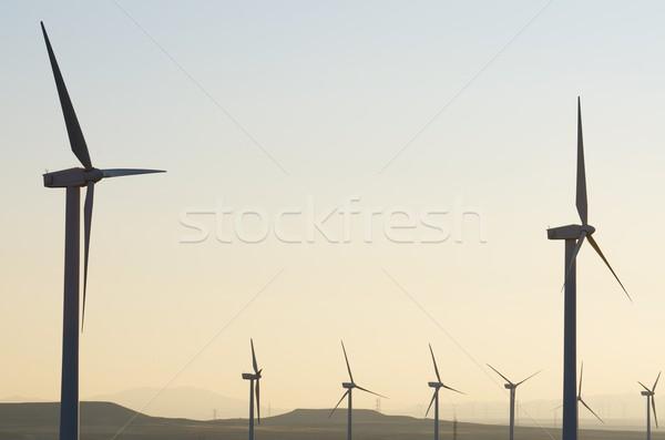 Elektrik üretim gün batımı manzara teknoloji alan Stok fotoğraf © pedrosala