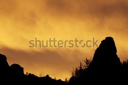 オレンジ 日の出 公園 モンゴル国 空 雲 ストックフォト © pedrosala