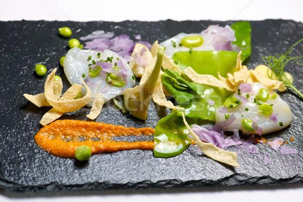 Gemarineerd geserveerd zwarte voedsel vis keuken Stockfoto © pedrosala