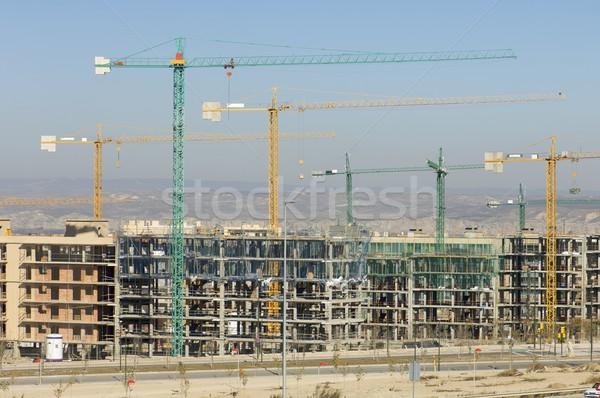 építkezés munka helyszín kék ég égbolt iroda Stock fotó © pedrosala
