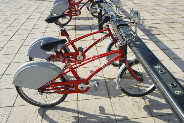 Mietbetrag Fahrräder Straße Stadt Straße Metall Stock foto © pedrosala