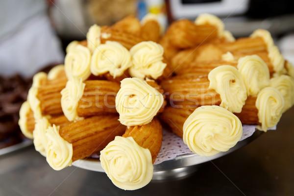 Foto stock: Grupo · típico · prato · café · da · manhã · gordura · branco