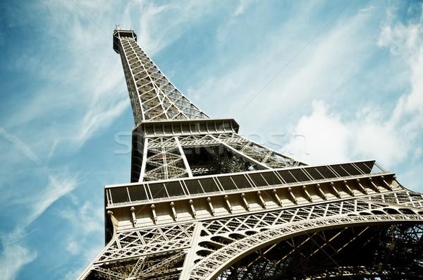 Foto stock: Torre · Eiffel · ver · blue · sky · branco · nuvens · Paris
