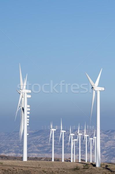 Elektrische productie heldere hemel landschap technologie veld Stockfoto © pedrosala