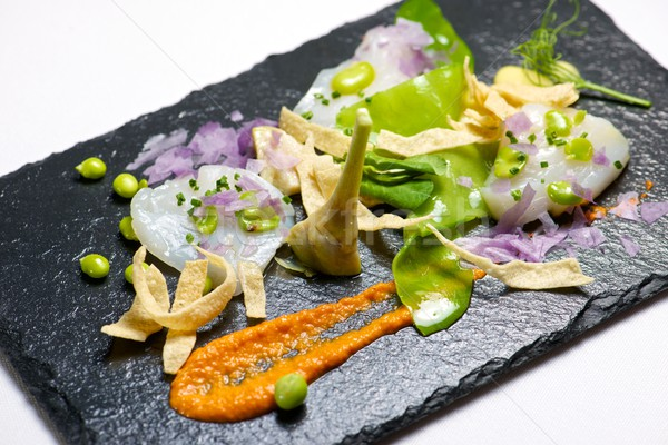 Marinierten serviert schwarz Essen Fisch Küche Stock foto © pedrosala
