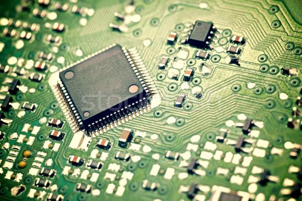 Integrato circuito primo piano chip computer sfondo Foto d'archivio © pedrosala
