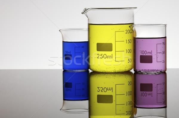 Három vegyi színes folyadék fehér üveg Stock fotó © pedrosala