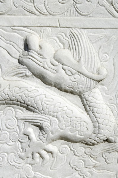 Stock photo: Carved dragon