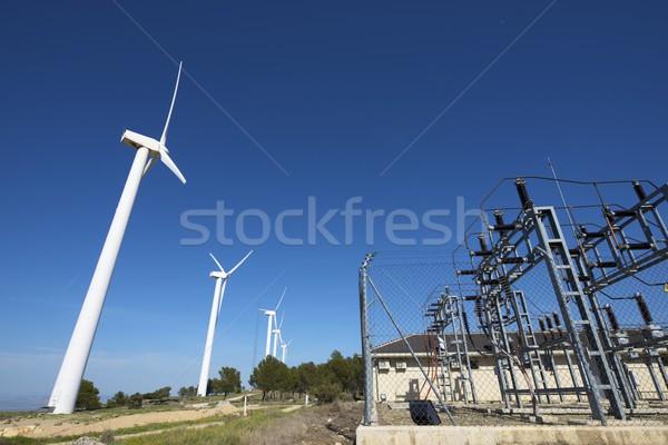 Szél energia gyártás elektomos farm kábel Stock fotó © pedrosala