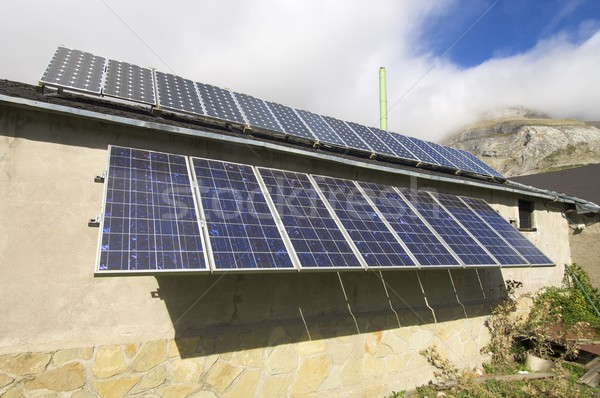Fotovoltaikus elektromos gyártás hegy természet technológia Stock fotó © pedrosala