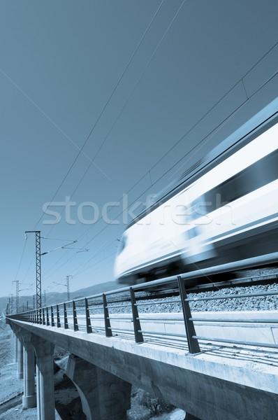 Blauw snelheid trein heldere hemel hemel auto Stockfoto © pedrosala