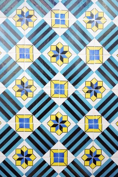 Taflowy ściany Lizbona Portugalia sztuki niebieski Zdjęcia stock © pedrosala