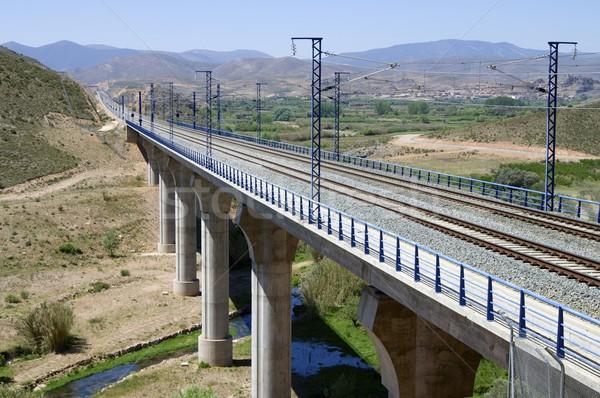 Treinen klein rivier landschap technologie communicatie Stockfoto © pedrosala