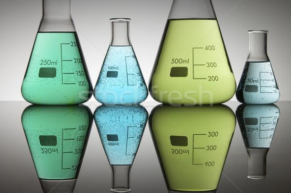 Laboratorium cztery zielone niebieski płynnych biały Zdjęcia stock © pedrosala