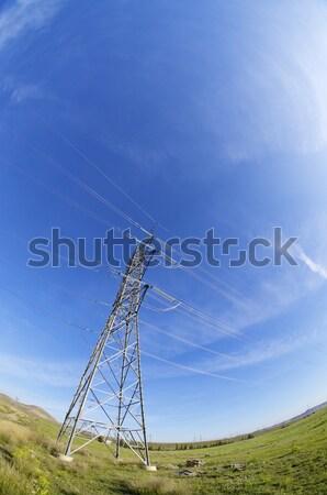 Energie hoog spanning elektrische toren blauwe hemel Stockfoto © pedrosala