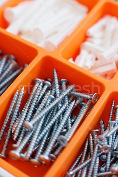 Csináld magad narancs doboz munka otthon kereszt Stock fotó © pedrosala