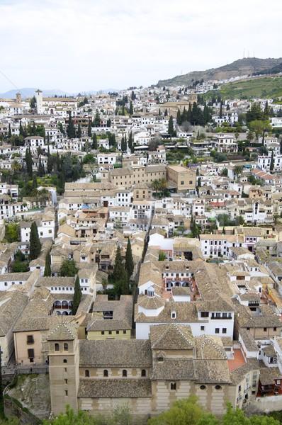 Sąsiedztwo widok z góry starówka kościoła miejskich domów Zdjęcia stock © pedrosala