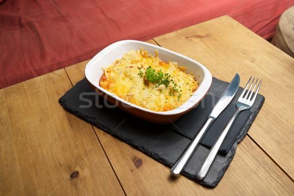 Toskana patates yemek ahşap masa sağlık plaka Stok fotoğraf © pedrosala