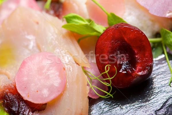 Tonhal saláta mandula krém felszolgált tálca étel Stock fotó © pedrosala