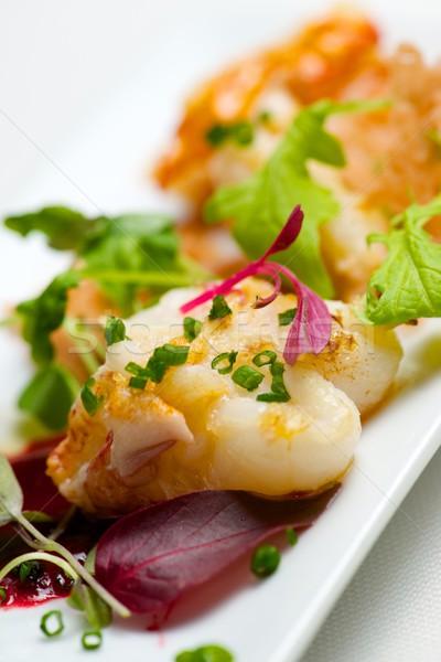 Lagosta verde legumes branco prato peixe Foto stock © pedrosala