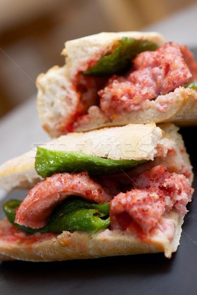 Worst snack groene peper tomaat gezondheid Stockfoto © pedrosala