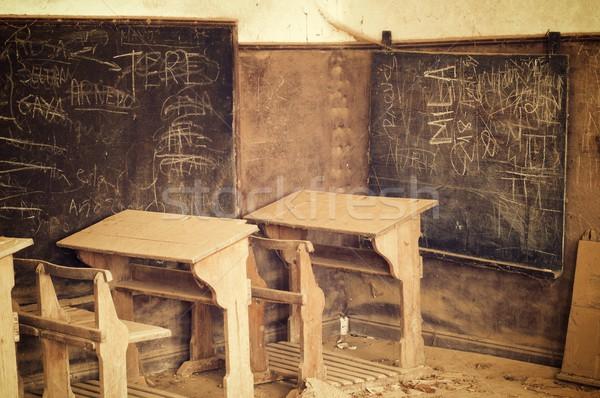 捨てられた 古い 学校 学生 ルーム 緑 ストックフォト © pedrosala