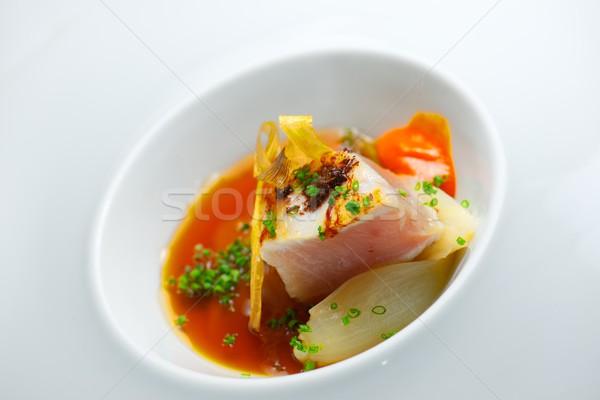 Ton balığı soğan küçük beyaz fincan tabağı balık Stok fotoğraf © pedrosala