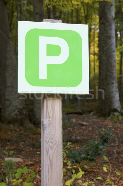 Parking signal forêt bois nature métal Photo stock © pedrosala