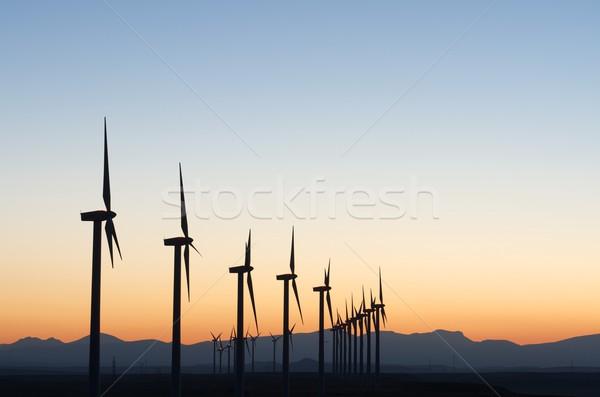 Elektrische productie zonsondergang landschap technologie veld Stockfoto © pedrosala