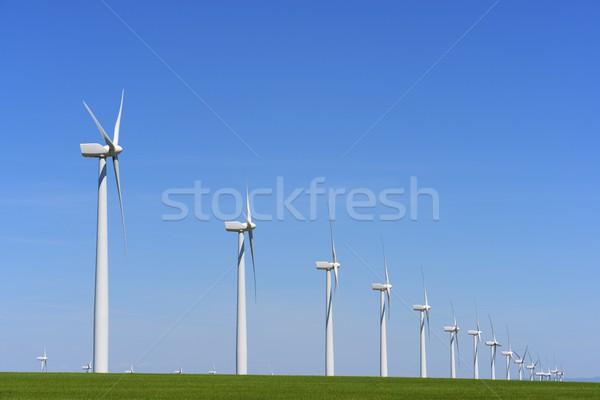 Rüzgâr enerji elektrik güç üretim çim Stok fotoğraf © pedrosala