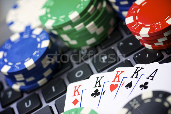 линия фишки казино карт клавиатура ноутбук клуба Сток-фото © pedrosala