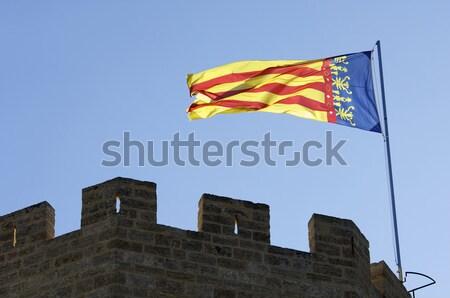 флаг испанский флаг замок ткань волна ветер Сток-фото © pedrosala