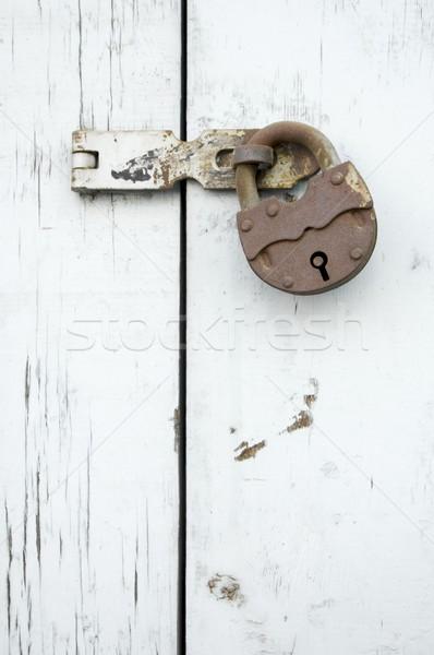 Stockfoto: Roestige · slot · hout · venster · textuur · gebouw