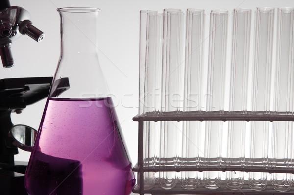 Biotechnológia labor előtér fehér üveg háttér Stock fotó © pedrosala
