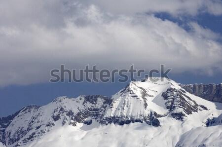 Szczyt góry dolinie charakter śniegu górskich Zdjęcia stock © pedrosala